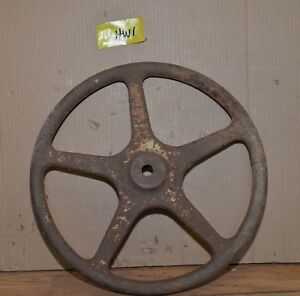 Antique 18 Cast Iron Hand Wheel Lamp Base Industrial Pulley Steampunk Repurpose