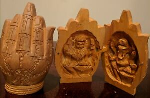 Old Vintage Aromatic Wooden Hand Carved Kali And Ghanesha Namaste 2 Piece Set
