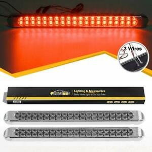 2x Truck Trailer 17 Chrome Clear Red Stop Turn Tail 3rd Brake 40 Led Light Bars