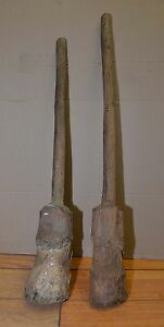 2 Early Primitive Farm House Kitchen Barn Maul Masher Tool Treen Hammer Mallet