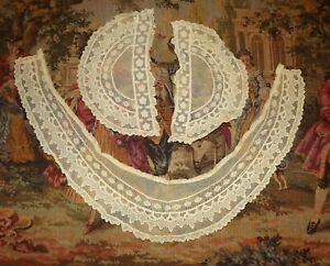 Antique Vintage Embroidered Net Valenciennes Lace Collar Cuff Set