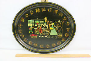 Vtg Black Tole Oval Tray Hand Painted Colonial Country Store Scene Artist Signed