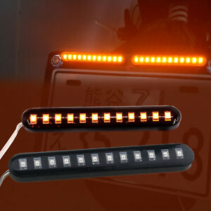 Waterproof Motocycle 12 Led Strips Amber Mini Strips Turn Signal Light 12v