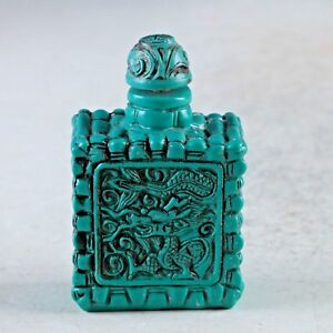 Exquisite Chinese Turquoise Resin Hand Carved Dragon Snuff Bottle
