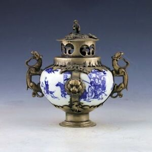 China Porcelain Silver Copper Hand Painted Ladies Incense Burner