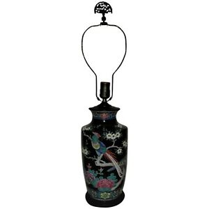 Antique Japanese Cloisonne Lamp Birds Of Paradise Butterfly Flowers Asian