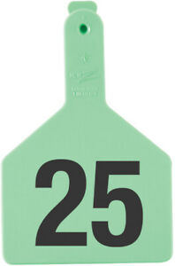 Z Tags Cow Ear Tags Green Numbered 126 150