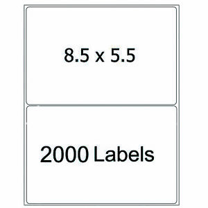 2000 Half Sheet 8 5x5 5 Mailing Shipping Labels Self Adhesive Round Corner 2 up
