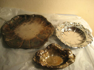 3 Silver Plate Butler Serving Tray 11 And 7 Silverplate Platter Dish Bowl