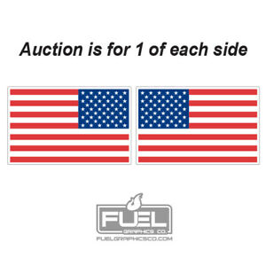 Us Flag Premium Vinyl Decal Sticker 2 pack 1 Left And 1 Right Included