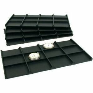 50 Black Faux Leather 12 Compartment Display Trays