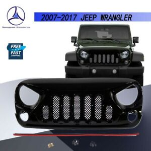 Fits 2007 2017 Jeep Wrangler Jk Angry Bird Grille Front Hood Glossblack W Mesh