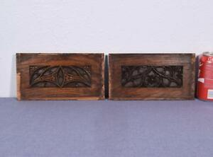 Antique French Gothic Revival Panels Woodcarvings In Oak Wood