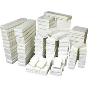 500 White Cotton Filled Jewelry Display Gift Boxes 5 Sizes