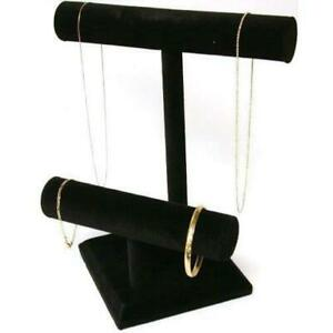 2 Tier Black Velvet T bar Bracelet Necklace Pendant Display Stand Kit 2 Pcs