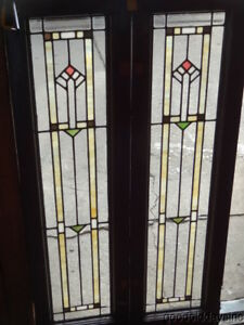 Pair Of Antique Arts Crafts Stained Clear Leaded Glass Windows 48 X 13