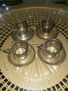 Set 4 Vtg Webster Mfg Co Sterling Silver Demitasse Cup Holder Saucer
