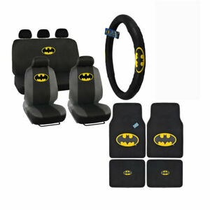 New 14pc Batman Front Back Car Floor Mats Seat Covers Steering Wheel Cover
