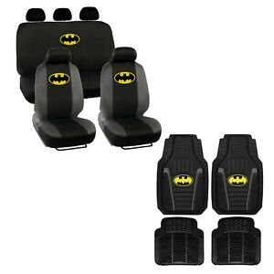 New 13pc Batman Classic Car Truck All Weather Rubber Floor Mats Seat Covers