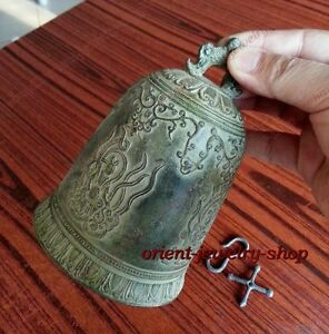 China Camous Tibet Bronze Buddhist Dragon Singing Bell Lucky Statue