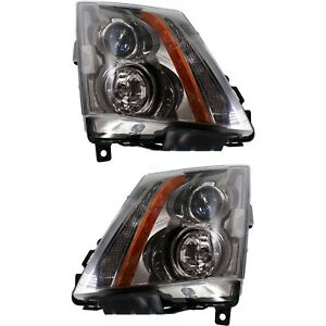 Halogen Headlight Set For 2008 2015 Cadillac Cts Left Right W Bulbs Pair Capa