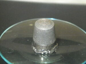 Old Sterling Silver Thimble Size 13 W Applied Decorative Band