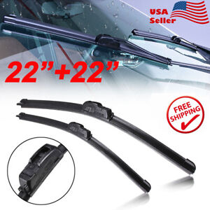 22 22 Windshield Wiper Blades J Hook Premium Hybrid Silicone All Season New