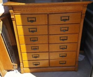 Late 1890 S Oak File Cabinet With 12 Drawers Wabash Original Log Sheets Reduced