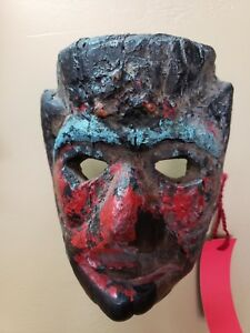 Rare Antique African Wood Carved Mask Painted Red And Black 5 X 8