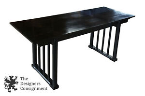 Baker Furniture Asian Black Writing Desk Console Table Computer Campaign Style