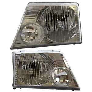 Left Right Pair 2 Head Lamp Assembly W O Bulb Fits 02 2004 2005 Ford Explorer