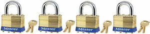 Lock Set By Master Brass 4ka lot Of 4 Keyed Alike Matching Same Identical