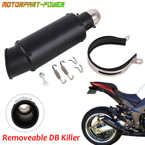 All Black Exhaust Muffler Tail Pipe Slip On Motorcycle 38mm 51mm Universal Steel