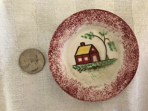 Antique Red Spatterware School House Pattern Butter Pat Cup Plate Spatter