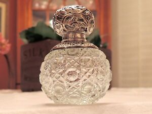 Antique Sterling Silver Repousse Lid Cut Glass Perfume Bottle W Dabber London
