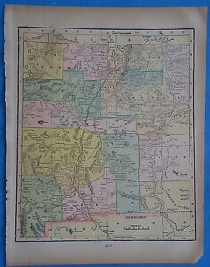 Vintage 1899 New Mexico Territory Map Old Antique Original Atlas Map 20819