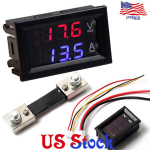 Led Voltage Meter Dc100v 10a Voltmeter Ammeter Blue red Led Amp Dual Digital Red
