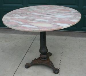 Antique Cast Iron Ornate Pedestal Table Base With 38 Rare Round Pink Marble Top