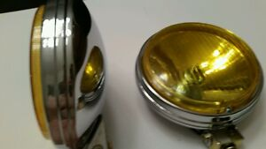 Pair Of 6in Round Yellow Fog Lights Retro Vw Awd 4 4 4wd Dune Buggy Truck Bug Mg