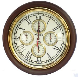 World Time Zone Wall Clock Wooden Vintage Style Nautical Decor Wall Clock Gift