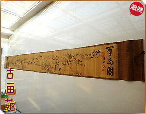 Ancient Picture Silk Paper Hundred Horse Scroll Painting 100inch
