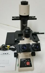 Olympus Ck2 Inverted Microscope 4x 10x 20x 40x Objectives Trinocular Head