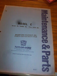 Taylor dunn Model C 1432c 1433c 1438c Part maintenance operation Manual 1970