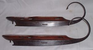 Rare Antique 1860s Civil War Ice Skates Hand Forged Curled Runners Hilger
