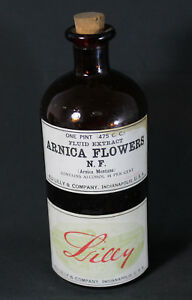 Antique Eli Lilly Arnica Flowers Fluid Extract In Original Bottle W Label