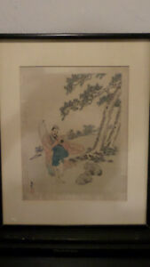 Antique Chinese Watercolor Painting On Silk Signed And Framed