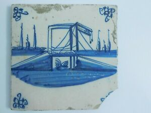 Antique Dutch Delft Hand Painted Tile