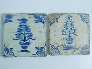 2 Antique Dutch Delft Hand Painted Tiles Flowers Vase Smeared Paint Rare