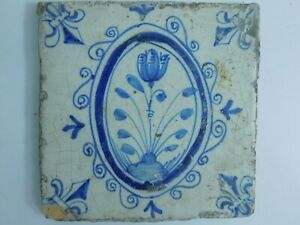 Antique Dutch Delft Hand Painted Tile Flowers