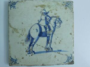 Antique Dutch Delft Hand Painted Tile Mounted Horse